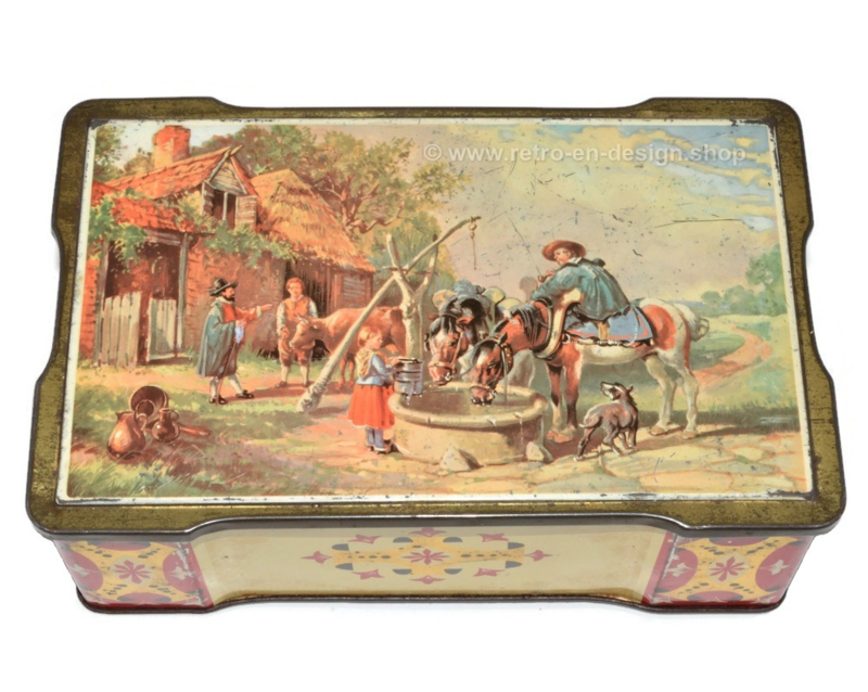 Vintage scalloped tin with an image of horses at a well