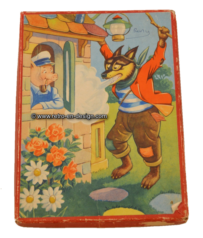 """Brocante driedelige puzzel """"Grote boze wolf""""."""