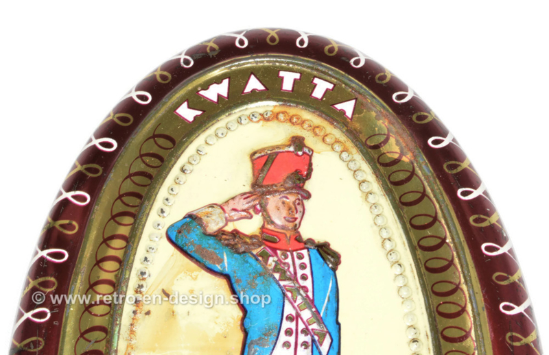 Vintage ovale blikken chocoladedoosje van Kwatta met soldaatje
