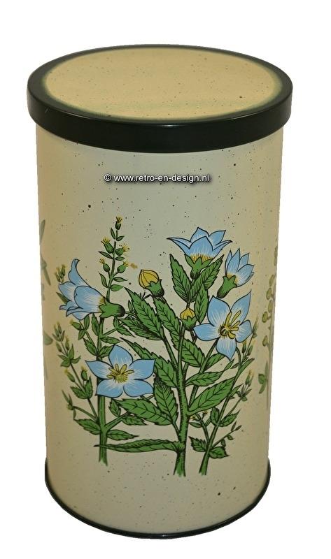 Vintage biscuit tin, flower decor