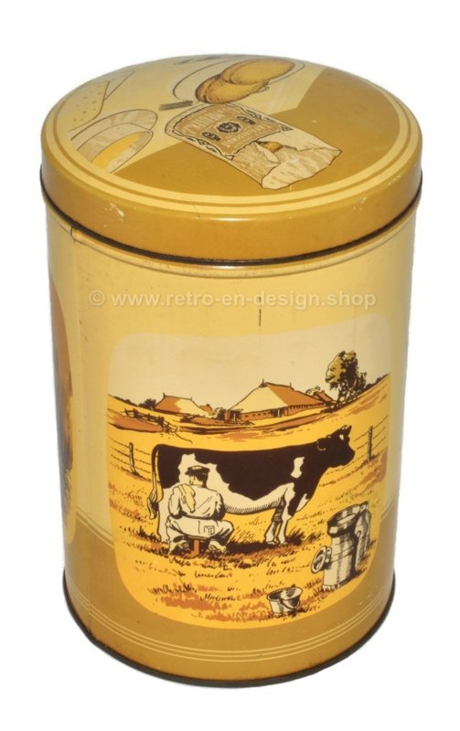Vintage tin canister for rusk by Fa vd Meulen & Zn with farmland scenes