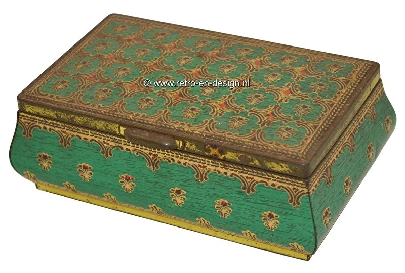 Vintage tin casket in green/gold with hinged lid