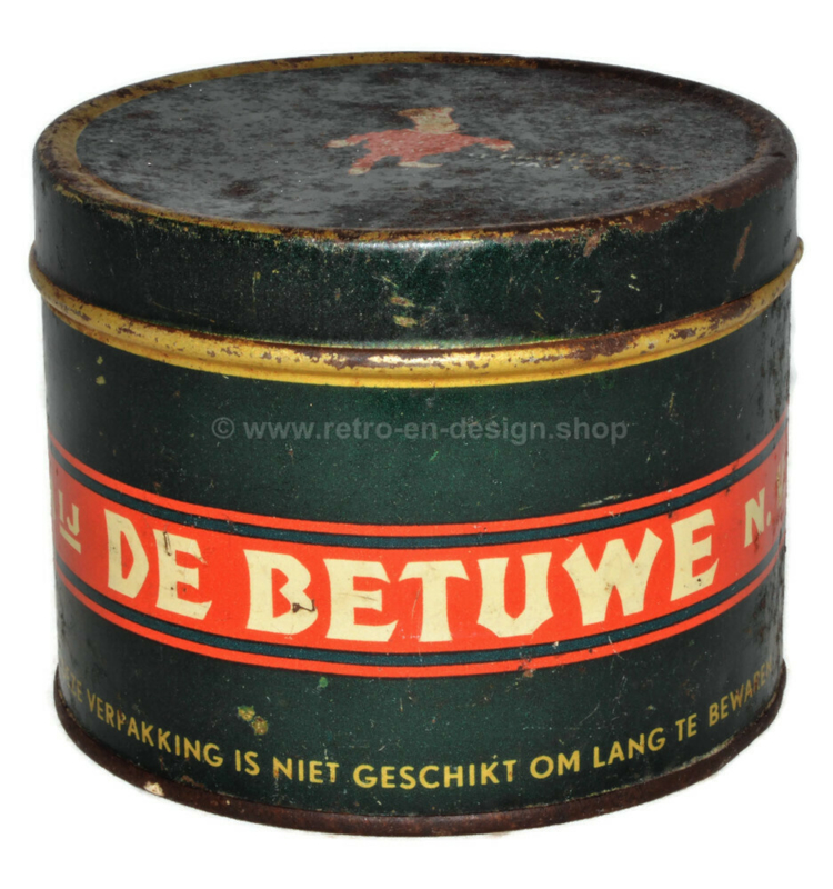 Vintage tin De Betuwe, Conpura prima rinse apple syrup with Flipje from Tiel