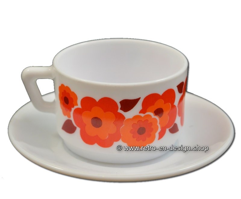 Vintage Arcopal France LOTUS coffee cup and saucer, Orange/red