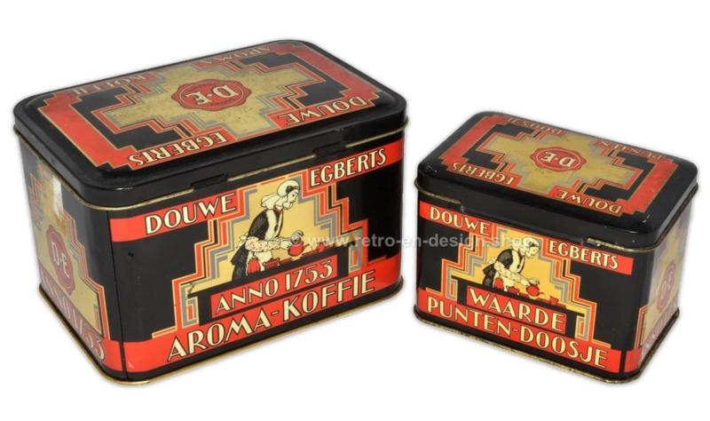 Vintage Douwe Egberts koffieblik Anno 1753 en Waardepunten-doosje