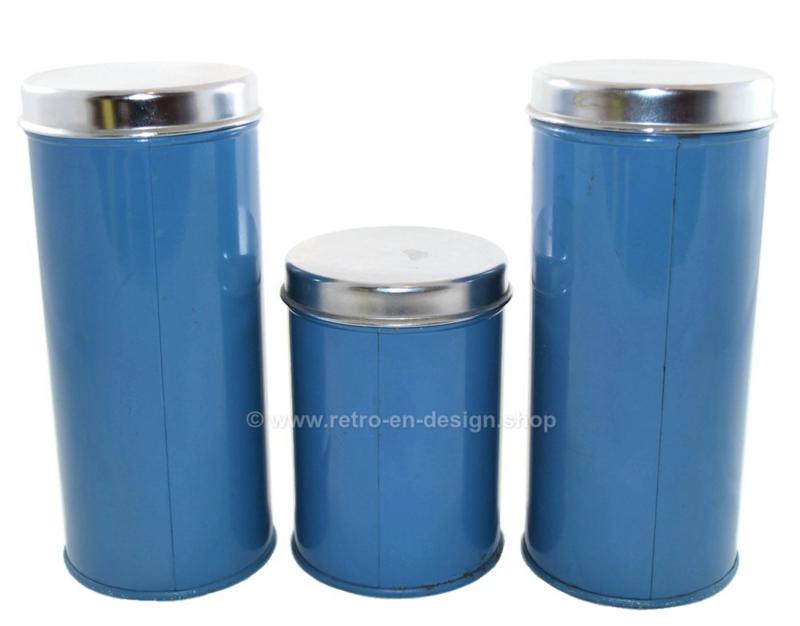 Brabantia set van drie blauwe voorraadbussen voor koffie, suiker en thee