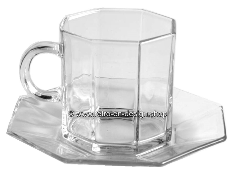 Glass cup and saucer by Arcoroc France, Luminarc Octime clear