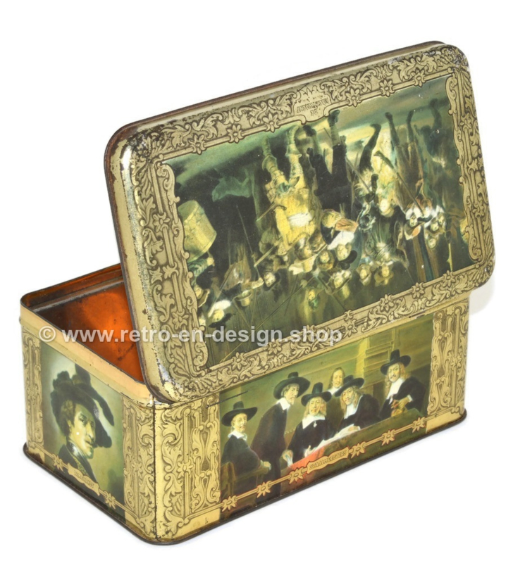 """Vintage cigars tin by """"ERNST CASIMIR"""" with depictions of paintings by Rembrandt"""