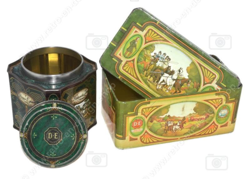 Juego de dos latas de té vintage de Douwe Egberts para té Pickwick con imágenes de carruaje, caballos y posada