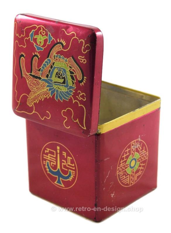 Cubo de hojalata vintage para té de Van Nelle con una imagen estilizada de un león oriental