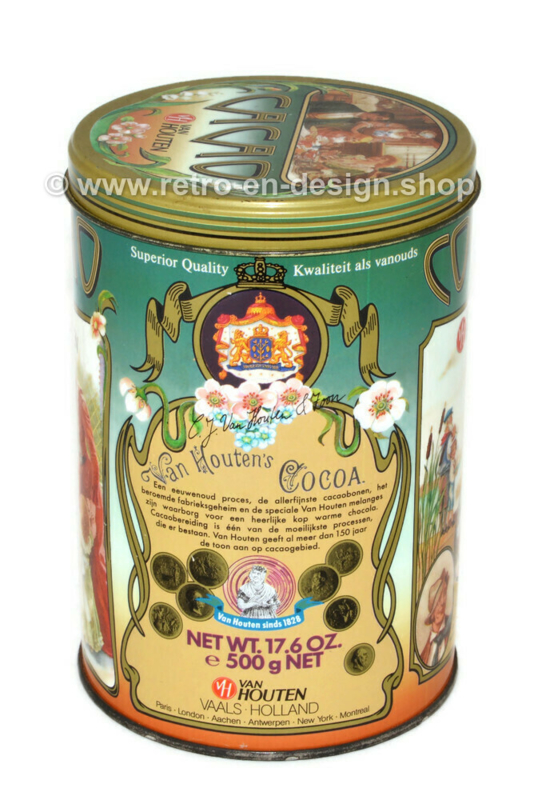 Vintage van Houten cocoa tin with nostalgic images