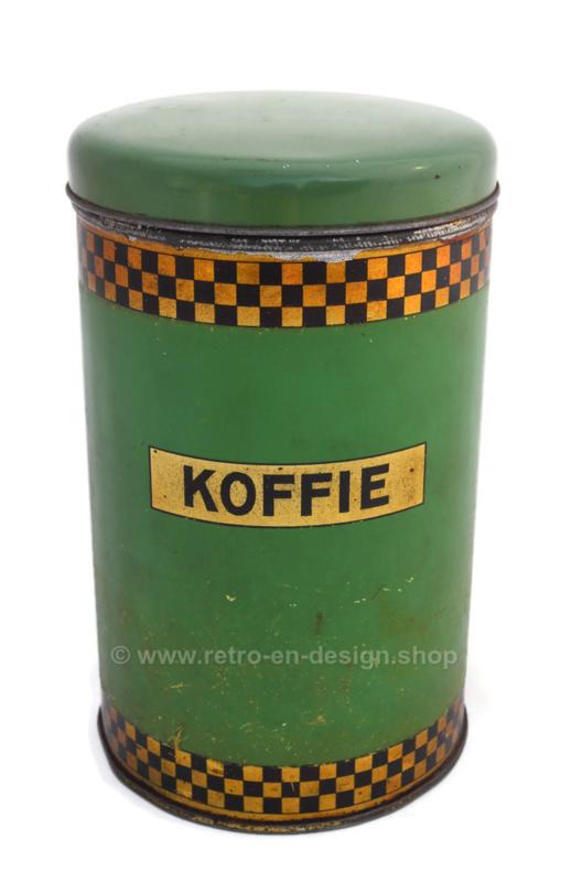 Brocante Kaffeedose von AJP in grün / gold