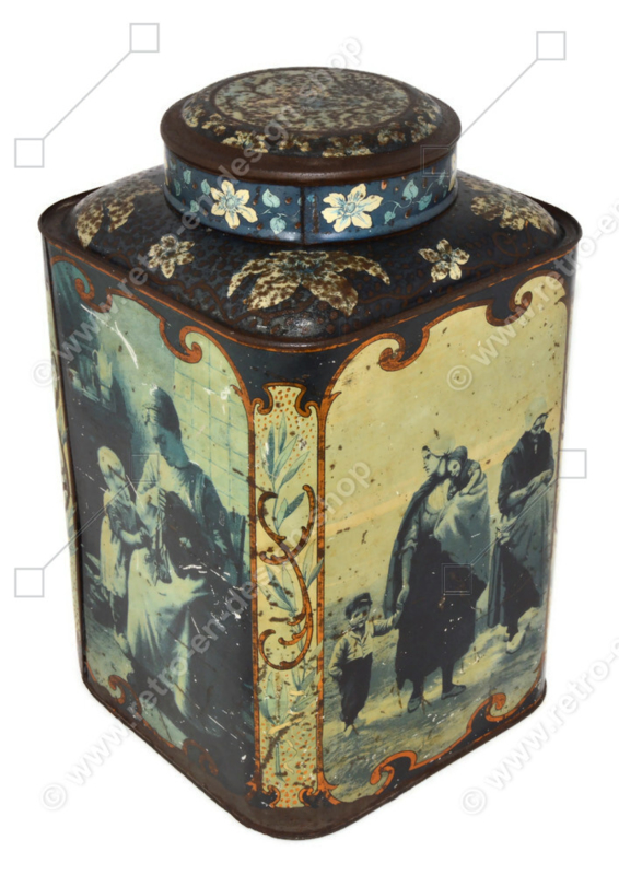 Beautiful vintage shopcounter tin for tea with Dutch scenes