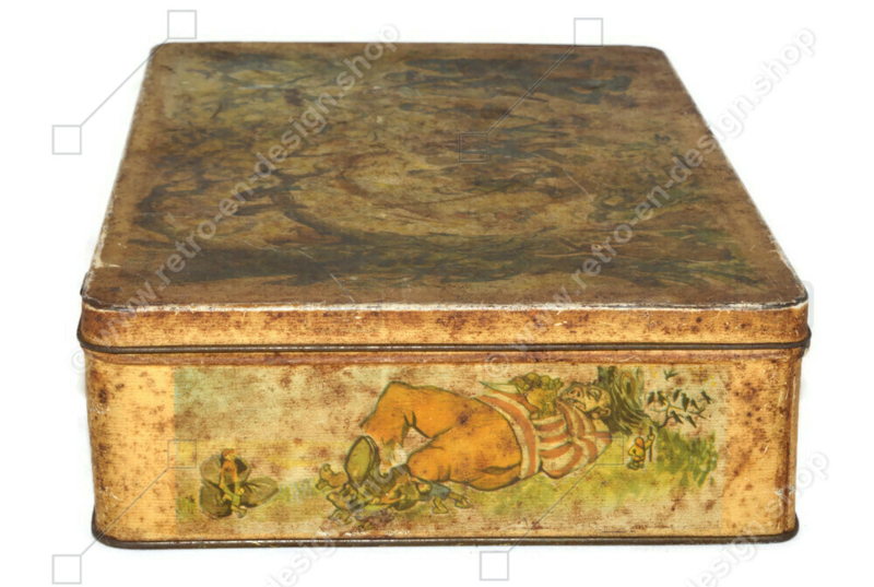 "Vintage biscuit tin by Biscuit Parein with images of the fairy tale ""Hop-on-My-Thumb and the seven league boots"""
