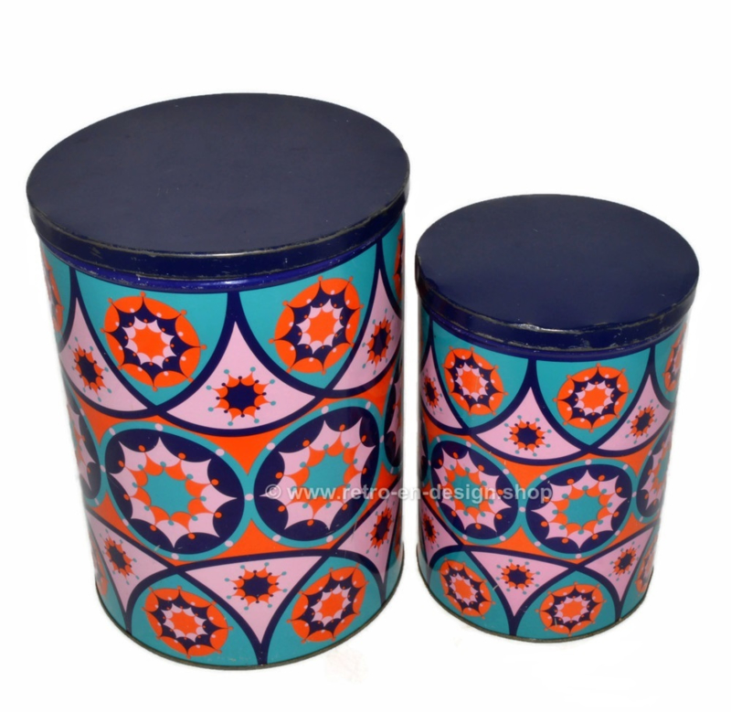 Vintage set of two tin drums with psychedelic kaleidoscope pattern by Tomado