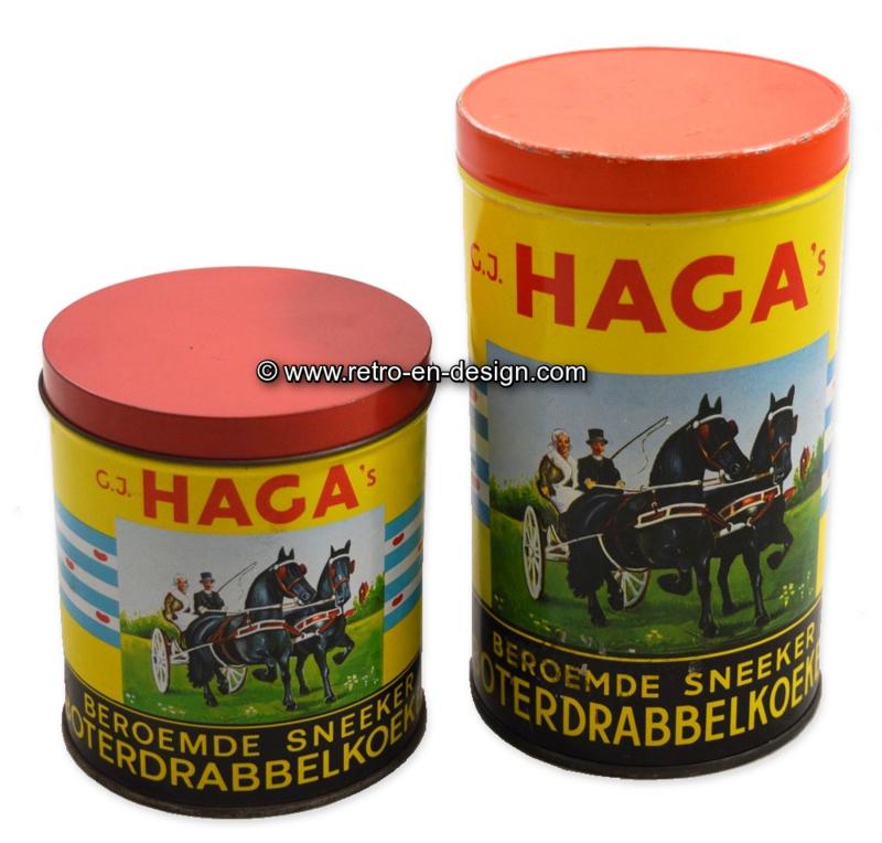 Lata vintage con caballos frisones para Drabbelkoeken por HAGA