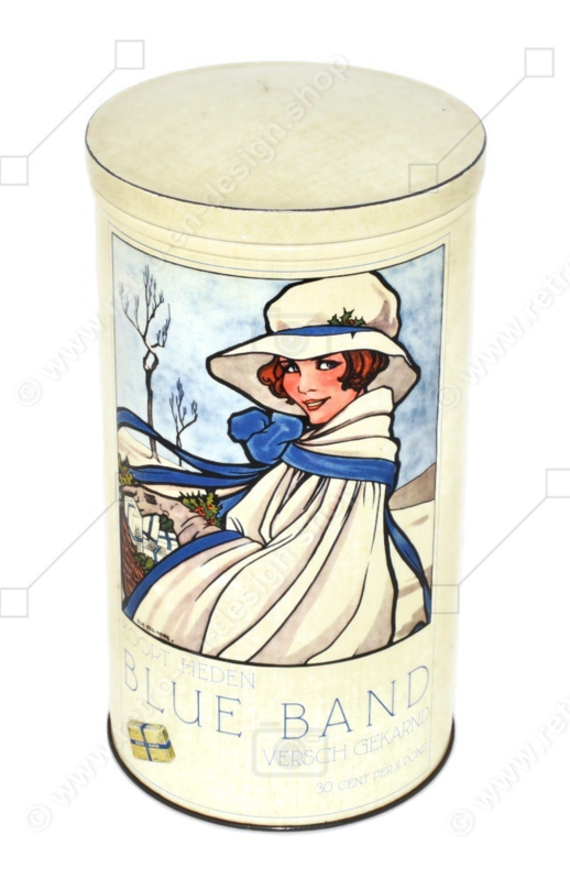 Vintage Dutch rusk tin for Hollandsche Beschuit made by Blue Band with an illustration by Rie Cramer