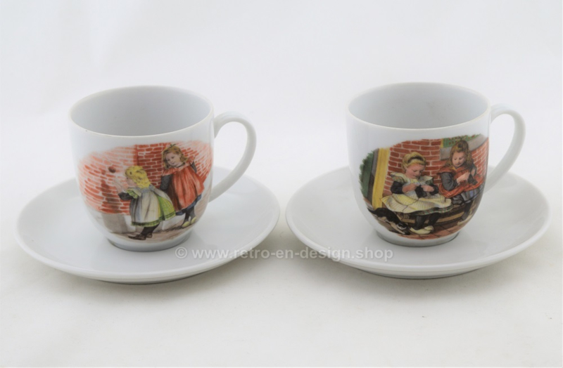 Dutch porcelain cups with saucer by ROYAL SCHWABAP from 1984 by Ter Steege
