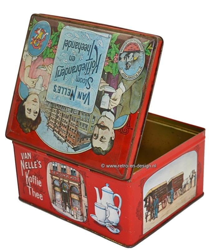 Vintage Blik van Van Nelle's stoom Koffiebranderij en Theehandel