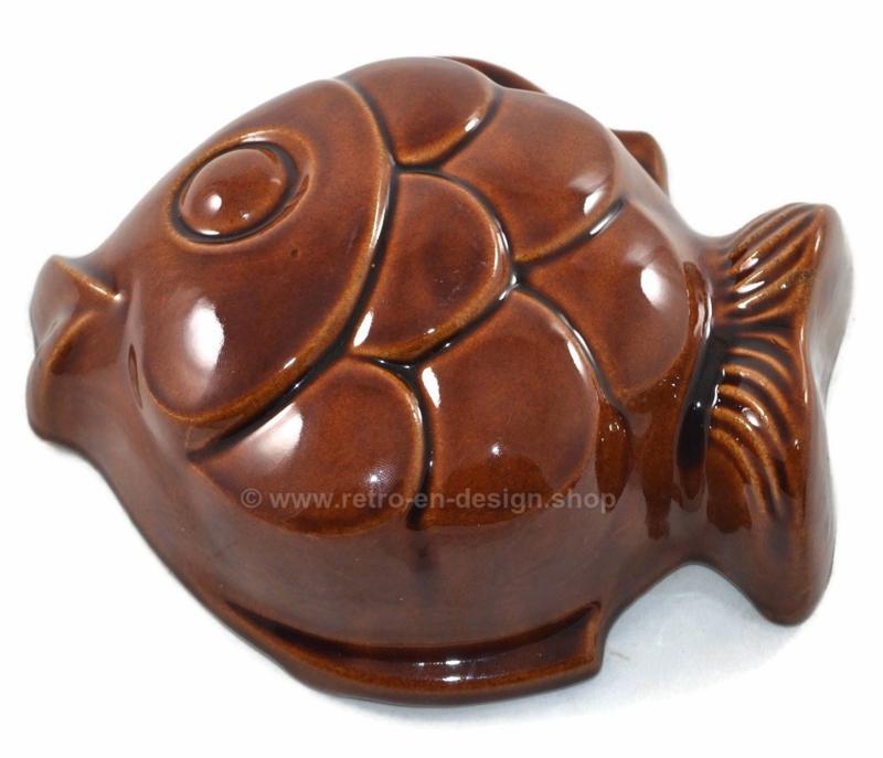 Vintage West-Germany bruine aardewerk puddingvorm in visvorm