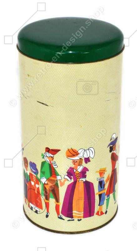 Vintage biscuit tin with figures in medieval costume, Wig era