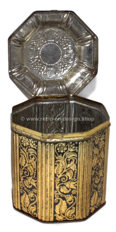 Boîte à tabac octogonale vintage de l'usine de tabac F. lieftinck Groningen, 1900 - 1940