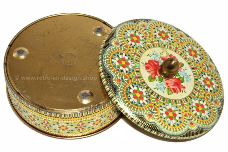 Runde Vintage Keksdose mit Perlenmuster ausgeführt
