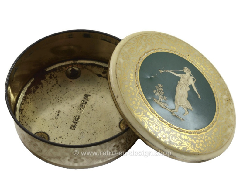 Round vintage drum by Albert Heijn with a Greek woman with a trumpet on the lid