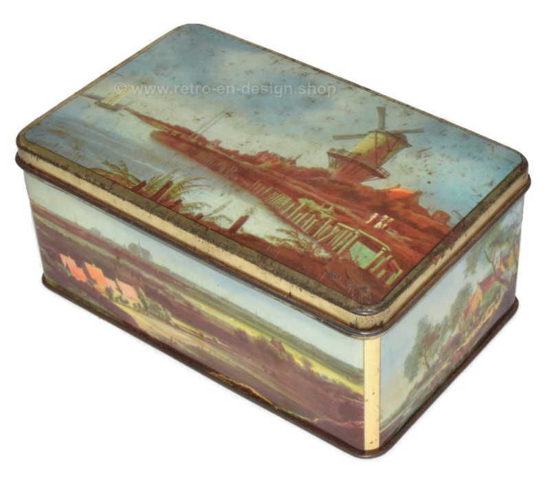 Vintage De Gruyter cocoa tin with Dutch landscapes and mill