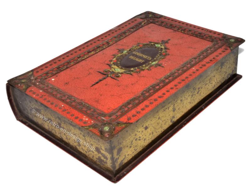 Blikken doos in boekvorm met oranje leerimitatie, Gourmets Delight voor VICTORIA
