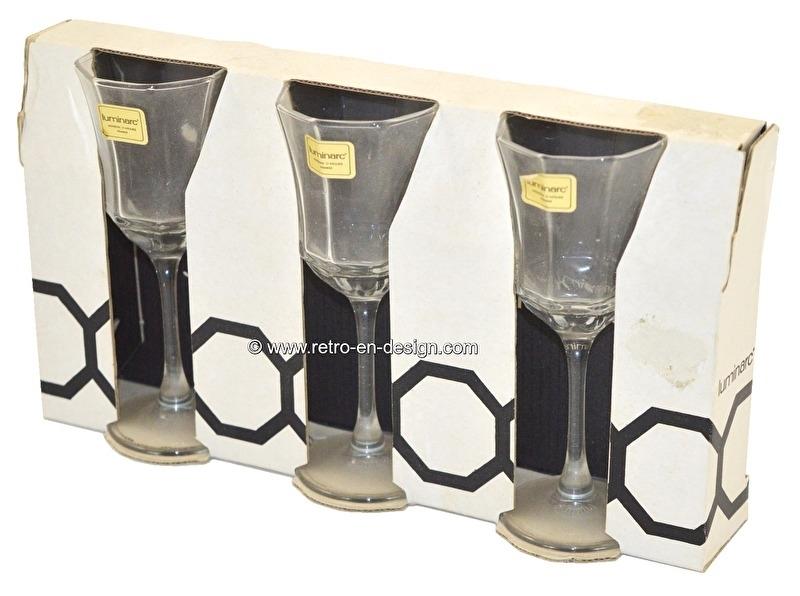Vintage Arcoroc Octime, Luminarc glazen op voet