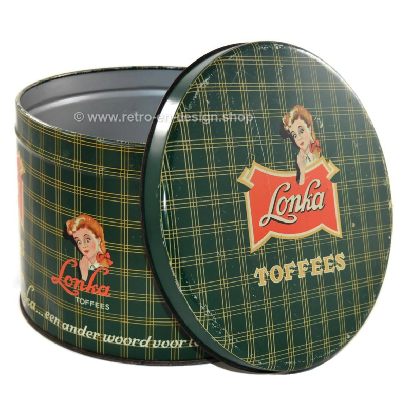 Vintage green candy tin by Lonka