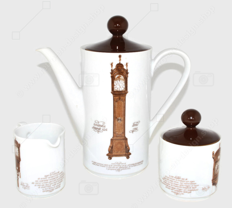 Nutroma porcelain coffee pot, cream jug and sugar bowl produced by Mitterteich Porzellan (clock crockery set)