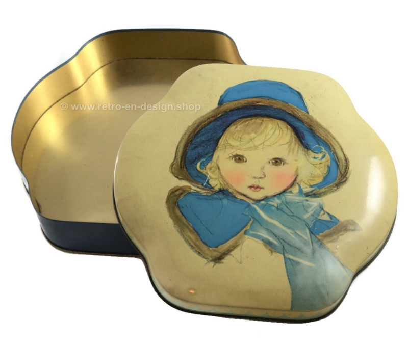 Brocante tin drum by Côte d'Or, girl with blue hat