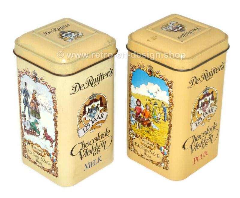 Boîtes vintage 125 ans De Ruijter's Chocolate Flakes Milk and Dark 1974