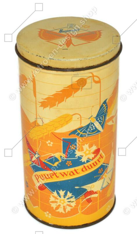 Boîte à biscuits vintage en étain avec épis de maïs par Hooimeijer, Puurt wat duurt
