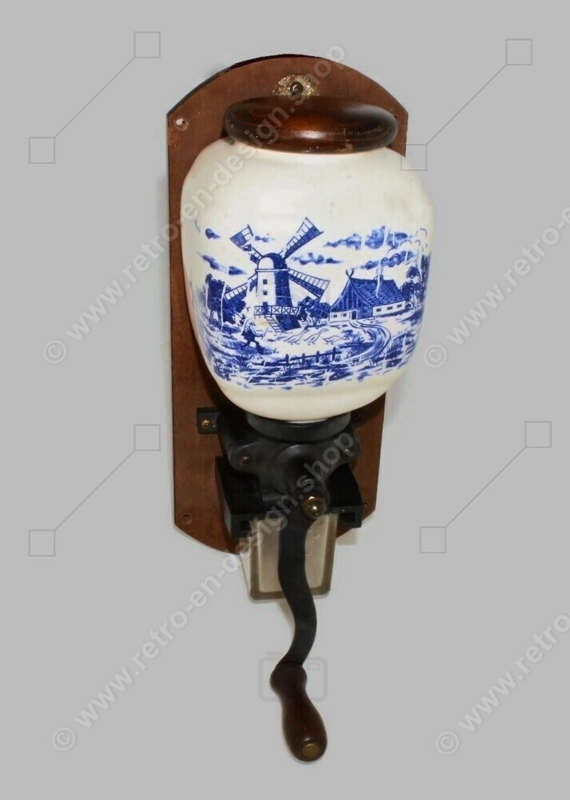 Vintage wall coffee grinder with a Dutch scene, complete with lid and glass receptacle