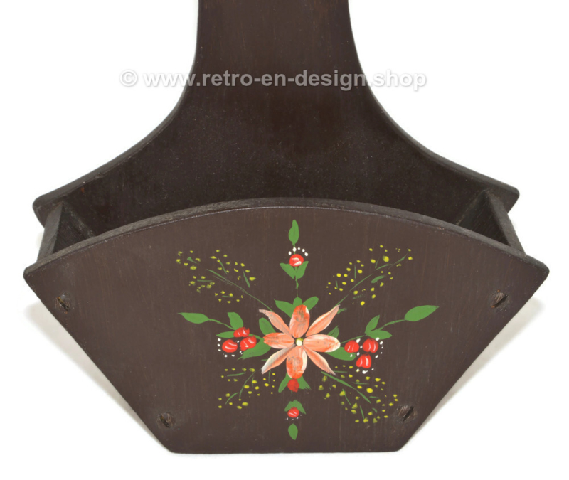Vintage 1970s wooden coffee filter holder with flower decoration