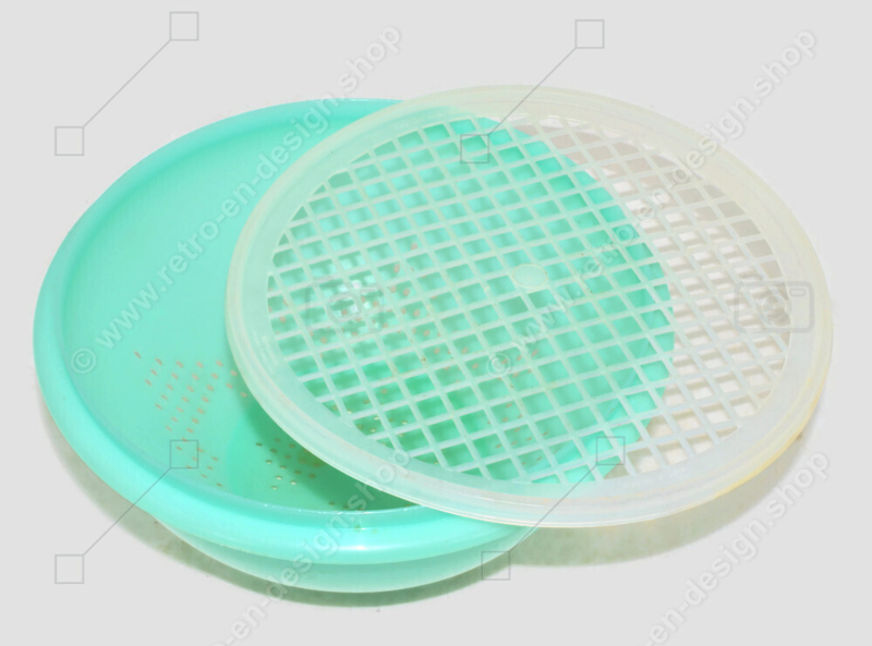 Colador Tupperware vintage de color Jade verde con rejilla blanca transparente
