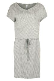 Allover logo printed dress with belt  greenstonewhite  202Goal