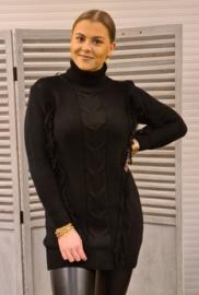 Lange trui franjes zwart