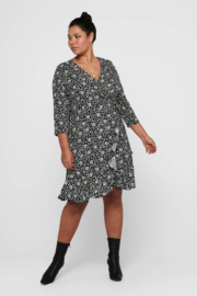 CARLOLLIB 3/4 KNEE WRAP DRESS
