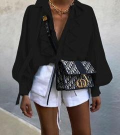 blouse zwart  roezel wijde mouw