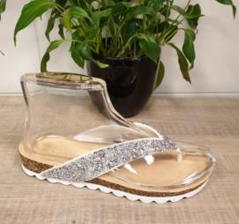 Witte bling bling slipper