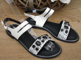 slippers zwart/wit