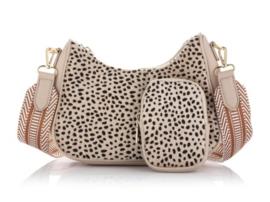 schouder tasje ovaal met coin purse cheetah beige