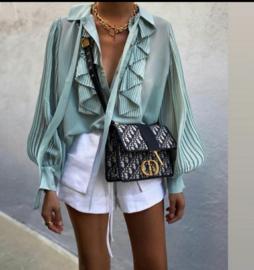 blouse mint roezel wijde mouw