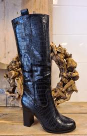 zwarte hoge laarzen croco