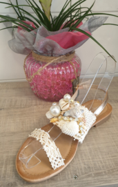 schelp parel slipper champagne