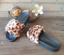 fake fur leopard slippers